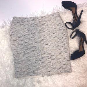 Ann Taylor Petite White Blue Tweed Mini Skirt 8P
